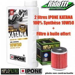 Pack 2 litres IPONE KATANA 10W50 +Filtre à Huile HIFLOFILTRO GAS-GAS 450 EC-F 2013-2015